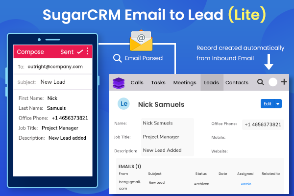 How SugarCRM Email to Lead plugin save your manual efforts? - Img 1