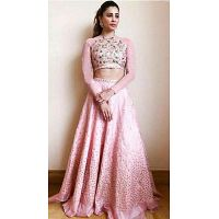 Light Pink Silk and Georgette High Neck Choli Lehenga for Party