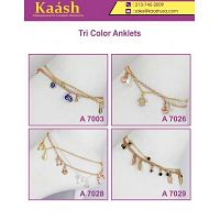 Multi Charm 3-Tone Anklets For Women & Girls