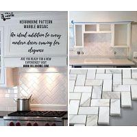 Herringbone pattern polished marble tiles - Villohome