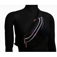 Fashion Waist Pack Holographic Waist Bag Large Fanny Belt Laser Leather Design Bum Bag 3 Pouches Rai