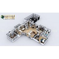 Contemporary Residential 3d interior designers of kitchen island breakfast table