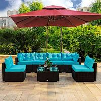 Amooly 7 Pieces Patio PE Rattan Sofa Set