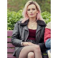 EMMA MACKEY SEX EDUCATION LEATHER JACKET