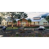 Clásico residencial residencial exterior, calle, casa y piscina vista 3D servicios de renderizado ex