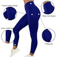 Chrideo - Get Fashionable Blue Color Leggings with Pockets in USA